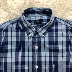J Crew Mens Blue Plaid Washed Shirt Medium